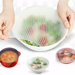 JUST IN  4Pcs Food Reusable Silicone Wrap Seal